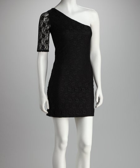 Black Lace Asymmetrical Dress