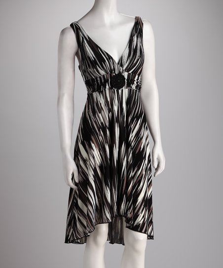 Charcoal & Black Abstract Stripe Hi-Low Dress