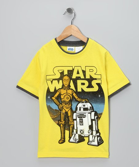 Yellow C3PO & R2-D2 Tee - Boys