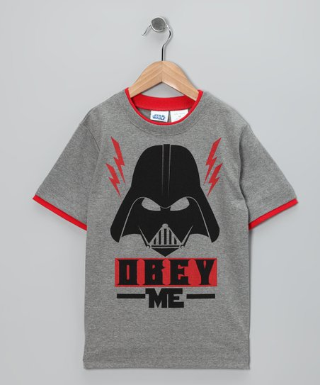 Gray 'Obey Me' Darth Vader Tee - Boys