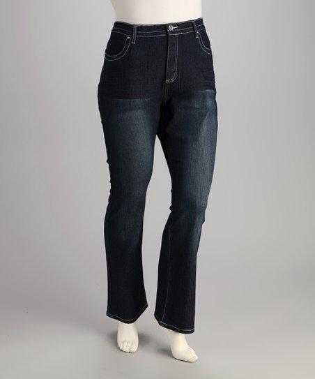 Medium Blue Embellished Plus-Size Bootcut Jeans
