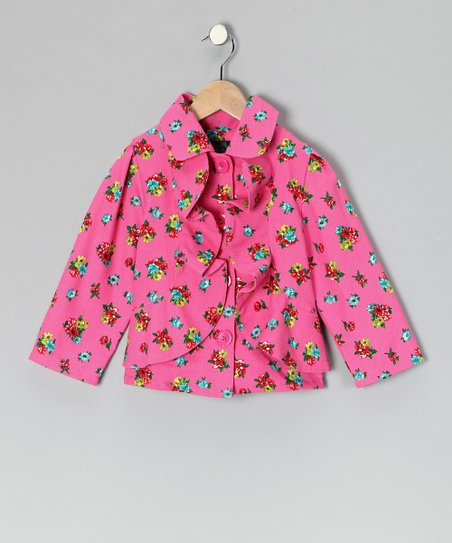 Hot Pink Ditzy Ruffle Jacket - Infant, Toddler & Girls