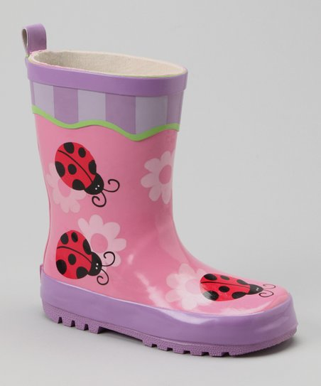 Pink Ladybug Rain Boot