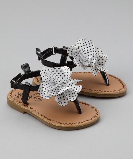 Stepping Stones Black &amp; White Polka Dot Flower Sandal