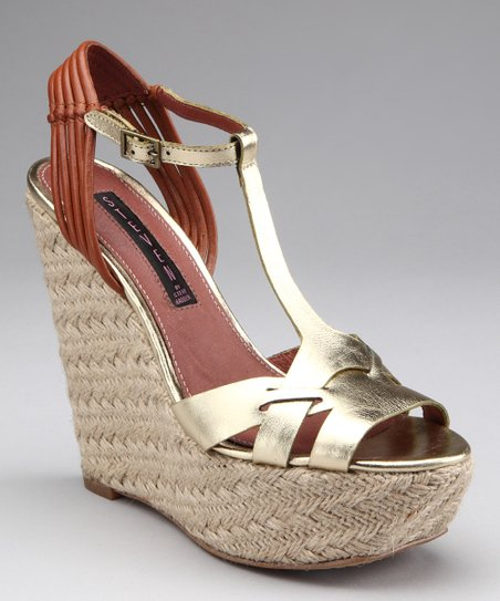 Gold Wikka Wedge Sandal