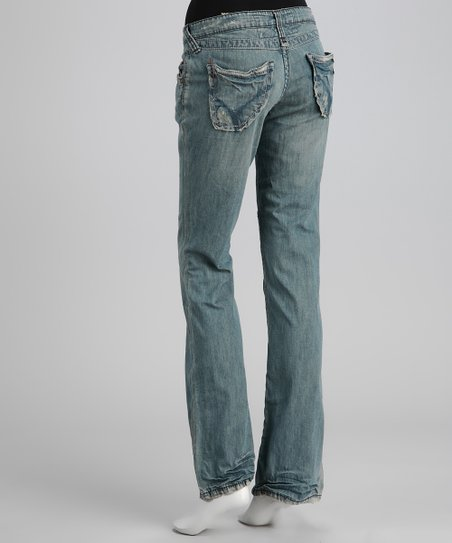 Crow Distressed Bootcut Jeans