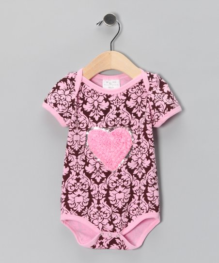 Pink & Brown Damask Heart Bodysuit - Infant