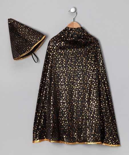 Black & Gold Wizard Cape & Hat - Kids