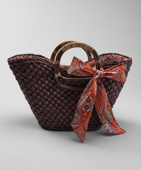 Brown Ribbon Basket Tote