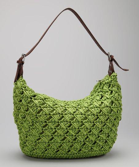 Lime Woven Straw Flexible Shoulder Bag