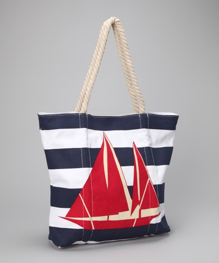 Red & Blue Sailboat Tote