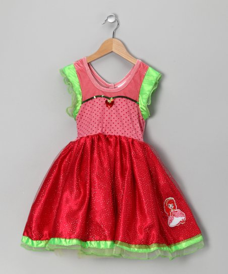 Pink & Green Strawberry Shortcake Dress - Girls