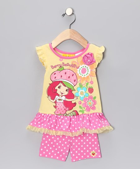 Yellow & Pink Strawberry Shortcake Skirted Top & Shorts - Infant