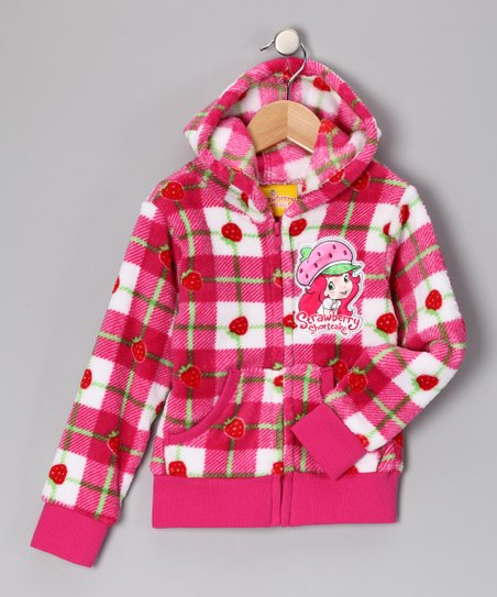 Pink Plaid Strawberry Shortcake Zip-Up Hoodie - Girls