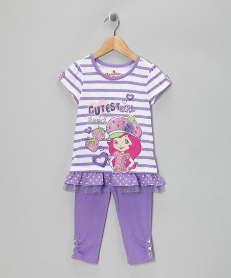 Purple Stripe 'Cutest' Tunic & Leggings - Girls
