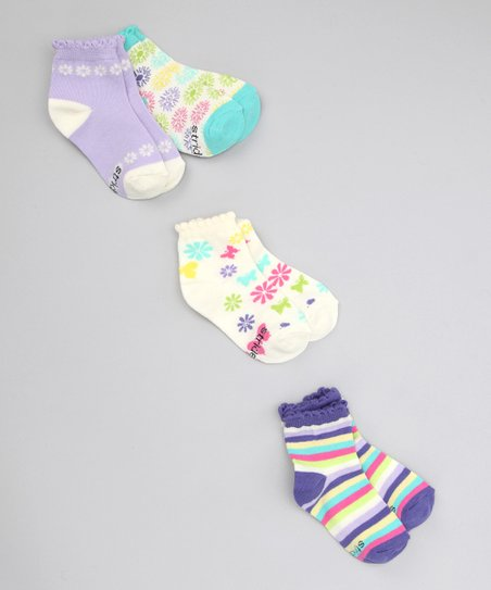 Stripe & Butterfly Ankle Socks Set