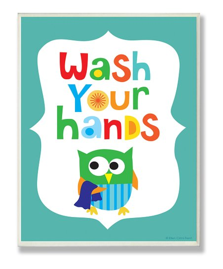 Blue 'Wash Your Hands' Wall Art
