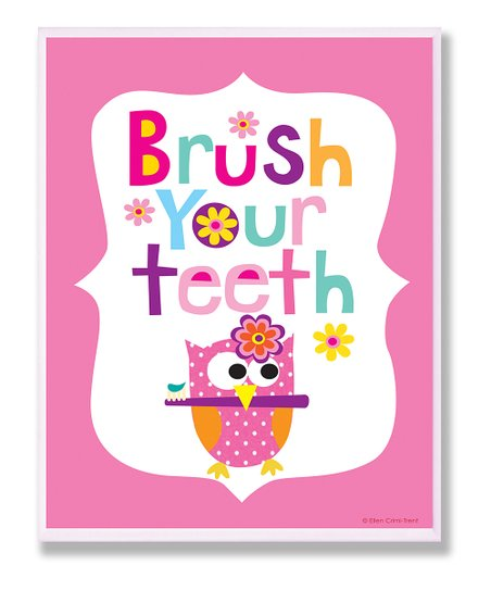 Pink 'Brush Your Teeth' Wall Art