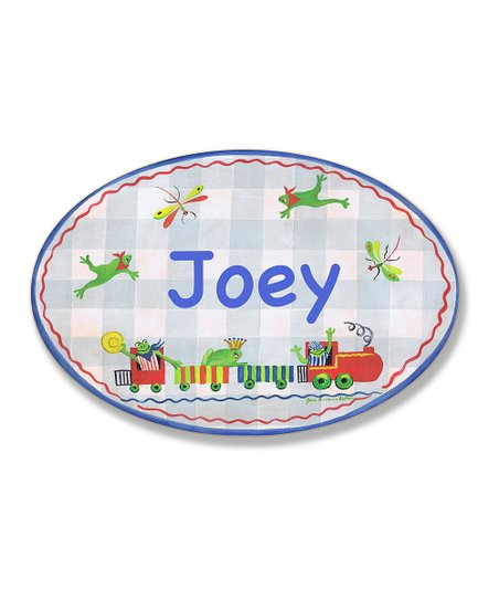 Blue Frogs & Dragonflies Personalized Oval Wall Art