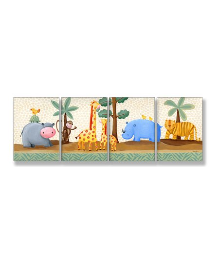 Hippo & Giraffe Wall Art Set