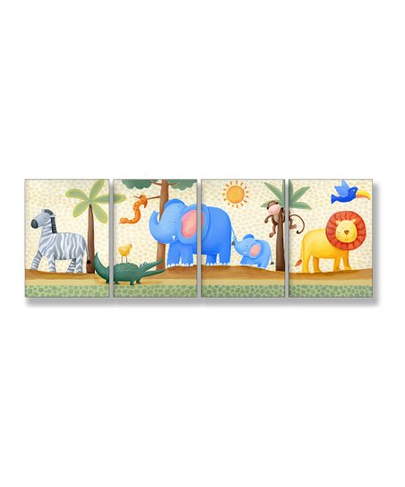 Zebra & Elephant Wall Art Set