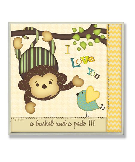 'I Love You' Monkey & Chickadee Wall Art