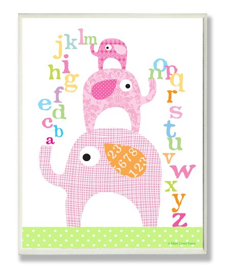 Pink Alphabetic Elephants Wall Art
