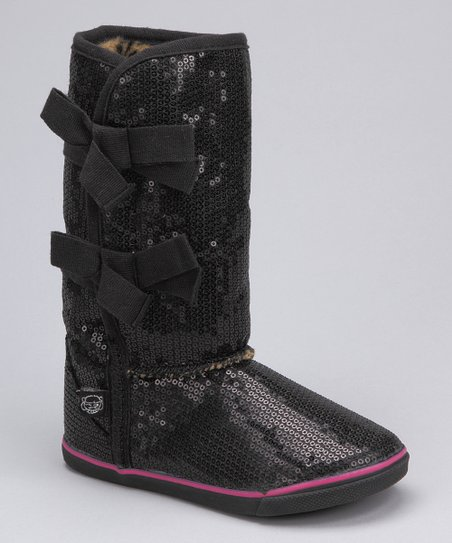 Black Sequin Boot