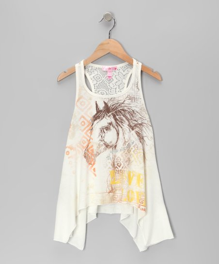 Cream Horse 'Live Love' Sidetail Tank