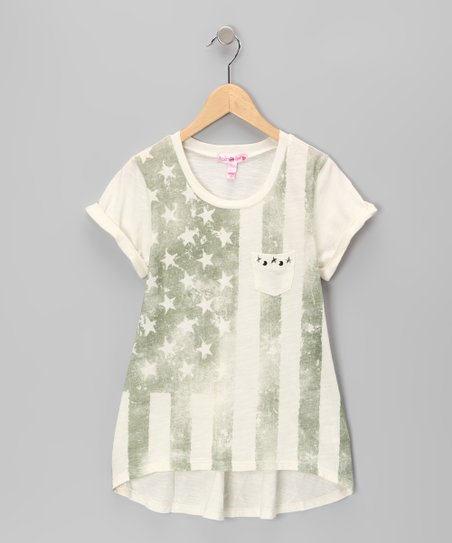 Ivory American Flag Hi-Low Tee - Girls