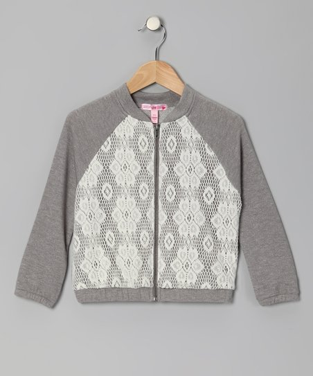 Gray Lace Raglan Zip-up Jacket - Girls