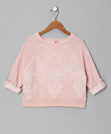 Peach Lace Raglan Sweatshirt