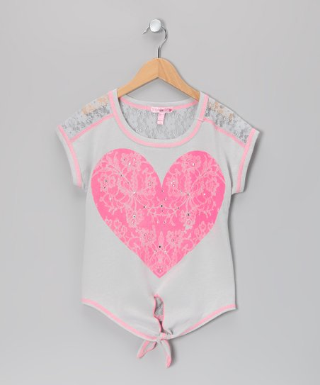 Gray Heart Tie Top - Girls