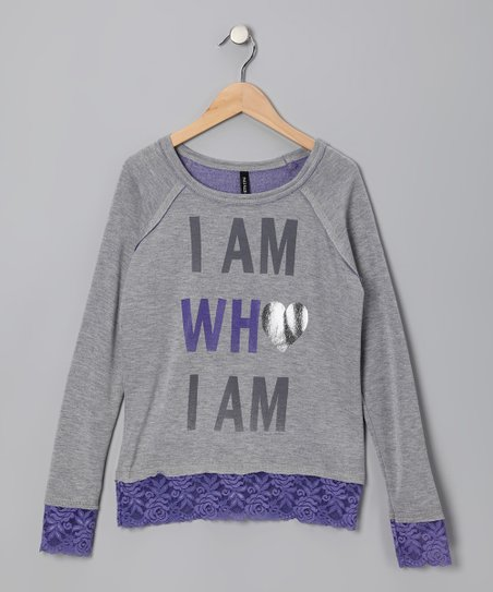 Gray &amp; Purple &#039;I Am Who I Am&#039; Sweatshirt - Girls