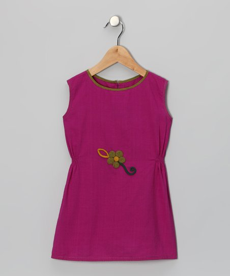 Sugar Purple Pinched Flower Dress - Infant, Toddler & Girls