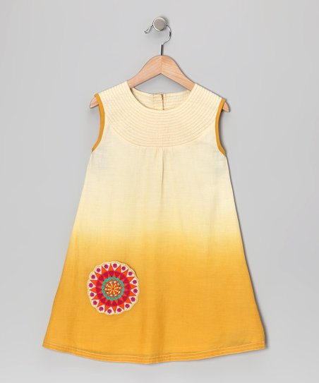 Sugar White & Yellow Appliqué Yoke Dress - Infant, Toddler & Girl