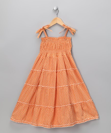 Sugar Orange Zigzag Dress - Infant, Toddler & Girls