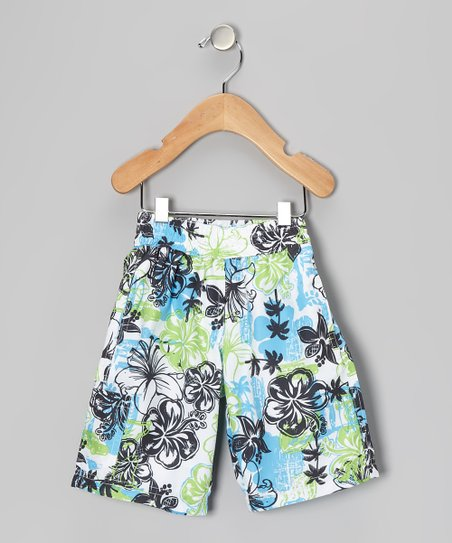 Blue & Green Tropical Swim Trunks - Infant, Toddler & Boys