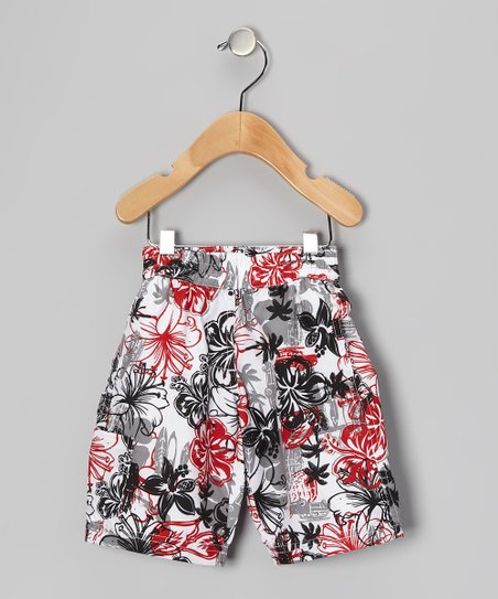 Black & Red Tropical Swim Trunks - Infant, Toddler & Boys