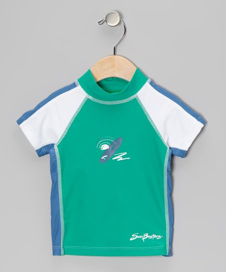 Sea Foam & Blue Short-Sleeve Rashguard - Boys