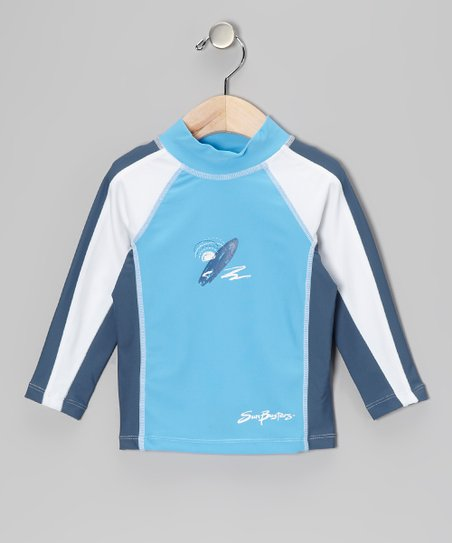 Splash & Steely Blue Long-Sleeve Rashguard - Infant & Boys