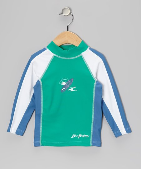 Sea Foam Blue Long-Sleeve Rashguard - Infant & Boys