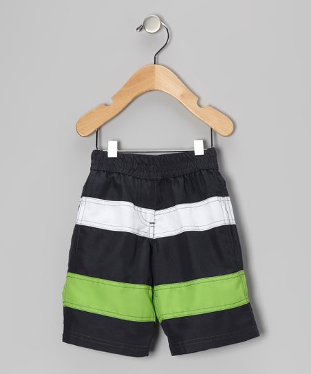 Titanium & Moss Stripe Swim Trunks - Infant, Toddler & Boys