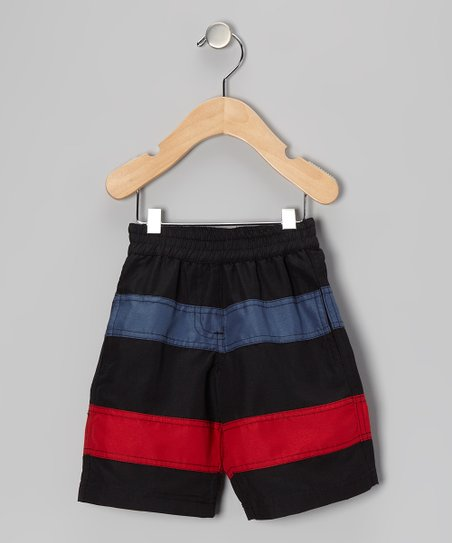 Licorice & Racer Red Stripe Swim Trunks - Infant, Toddler & Boys