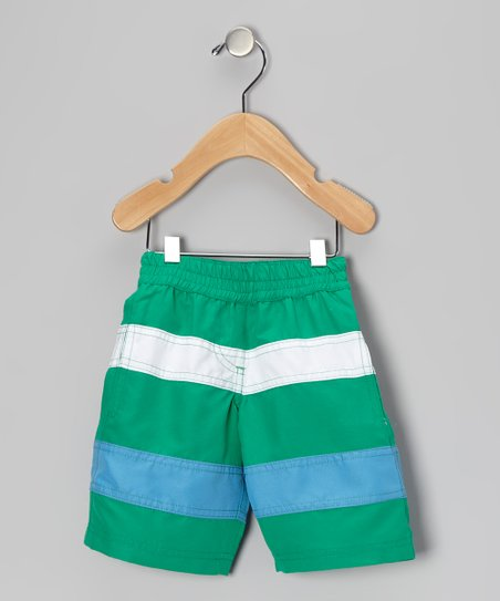 Sea Foam &amp; Blue Stripe Swim Trunks - Infant &amp; Boys