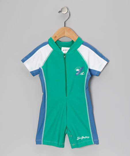 Sea Foam &amp; Blue Short One-Piece Rashguard - Infant &amp; Boys