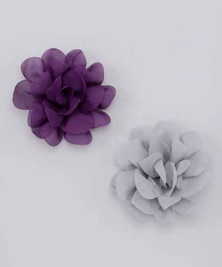 Plum & Silver Flower Clip Set