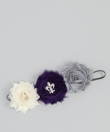 Gray &amp; Purple Shabby Flower Headband