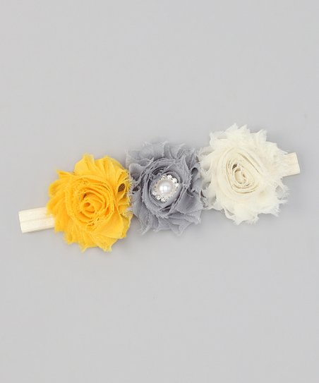 Yellow & Gray Shabby Flower Headband