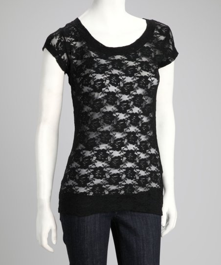 Black Sheer Lace Cap-Sleeve Top